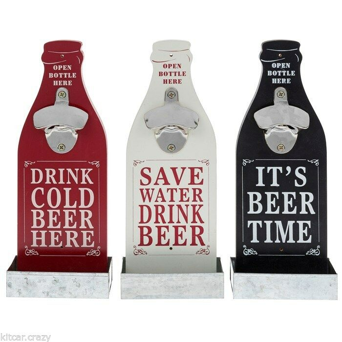 COLLECTABLE NOVELTY SMALL BEER  BOTTLE SHAPED BOTTLE OPENER WITH SLOGAN